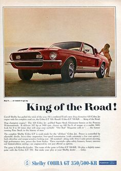 1968 Ford Mustang Shelby Cobra GT 350 Advertising Road & Track June 1968 King of the Road. Ford Mustang Shelby Cobra, Shelby Cobra Gt500, 1968 Mustang, Ford Shelby, Mustang Cars, Ford Gt, Ford Mustangs, Mustang Gt500, Ford 2000