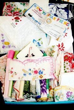 vintage handkerchiefs - I'd love to own all these!