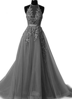 Grey Halter Lace Applique Tulle Formal Gowns, Grey Party Dresses, Prom Gowns, Formal Dresses - Source by CinnamonBuxky - Halter Prom Dresses Long, Cute Prom Dresses, Grad Dresses, Ball Dresses, Pretty Dresses, Beautiful Dresses, Evening Dresses, Dress Long, Halter Gown