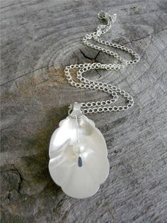 Silver Spoon Necklace with Pearl by Revisions on Etsy