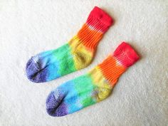 Kid's Tie Dye Socks.  Rainbow stripes // 4-6 year old// girls or boys// fun small gift idea // Colorful socks, happy, Hippy socks,  X10 by FarmFreshTieDyeStore on Etsy