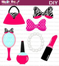 Girly Diva Clipart - Graphic Design - Hot Pink Zebra Print Makeup ...