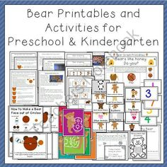 Bear Printables and Activities for Preschool and Kindergarten product from TeachingtheLittlePeople on TeachersNotebook.com