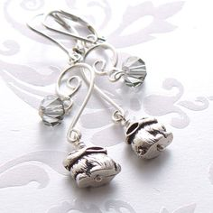 Sterling Earrings  Sterling Silver Antique Pewter by Buntique
