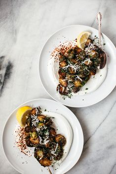 easy weeknight side dish Recipe - FRIED BRUSSELS SPROUTS WITH LEMON, PARMESAN, AND BREADCRUMBS