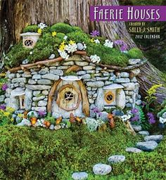 fairy house.. Love the stone and the moss roof