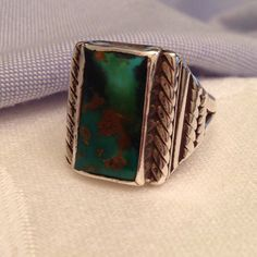 Latest men's vintage southwest turquoise ring, gorgeous toned and silver setting!