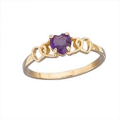 14k Gold Genuine 4mm Amethyst Heart Childrens Ring Size 3