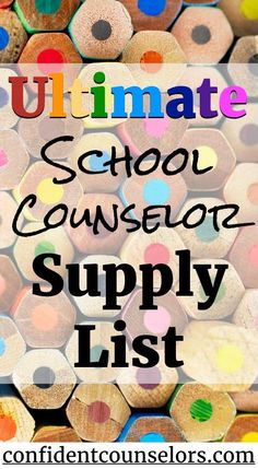 School Counselor Supply List Ultimate Supply List for School Counselors.Ultimate Supply List for School Counselors. School Counselor Office, School Guidance Counselor, High School Counseling, Elementary School Counselor, School Social Work, School Classroom, School Counselor Organization, Counseling Office Decor, Career Counseling
