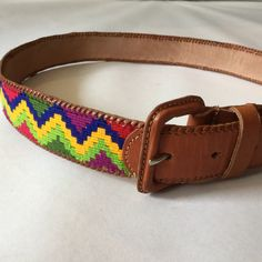 Colorful woven and brown leather belt made in Guatemala, with leather bound buckle, waist 32 - 36 1/2 by afterglowvintage on Etsy