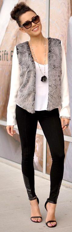 Dahlia Wolf White Grey Faux Fur Panels Blazer                                                                             Source
