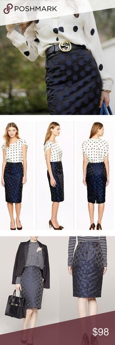 "J. Crew Pencil Skirt Classy and chic!  A true design icon that we've meticulously shaped and seamed to figure-flattering perfection (always sharp and to the point, the No. 2 pencil will be your wardrobe's most noteworthy addition). Thanks to this textured rendering, dots (a forever favorite that's having a moment this season) take on a new dimension, spun in a sleek taffeta twill our design team sourced from an Italian mill.  Poly/nylon. Sits above waist. Back zip. 25""long. J. Crew Skirts…"