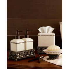 Cream White metal tissue Box Cover ($78) ❤ liked on Polyvore