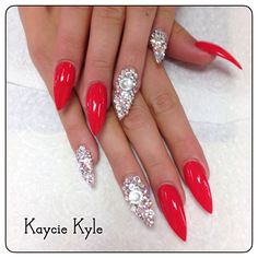 40 Best Christmas Nail Designs Ideas The Xerxes Red - ArtToNail nail ideas in red - Nail Ideas Holiday Nails, Christmas Nails, Hot Nails, Hair And Nails, Bling Stiletto Nails, Pointed Nails, Nagel Bling, Red Nail Art, Christmas Nail Designs