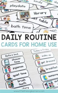Routine Cards Daily routine cards for making visual timetable and schedules for toddlers, preschool, tot school and Kindergarten Daily Routine Chart For Kids, Daily Routine Schedule, Schedule Cards, Charts For Kids, Toddler Routine Chart, Morning Routine Chart, Daily Routines, Morning Routine Printable, Bedtime Routine Chart