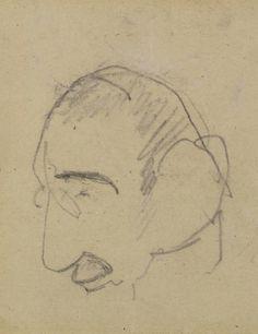 Henri de Toulouse-Lautrec (French, 1864-1901), Portrait de Lautrec par lui-même, Pencil on paper, 6.8 x 6.3 cm.