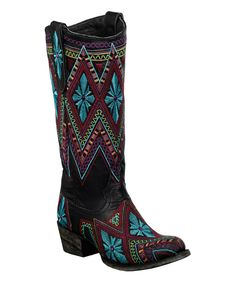 $239! Loving this Lane Boots Black & Red Sunshine Leather Cowboy Boot on #zulily! #zulilyfinds