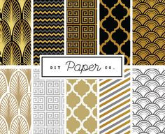 Art Deco Digital Paper - Gatsby Jazz 20's Patterns - For scrapbooking, cards, invites