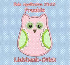 Eule Applikation Freebie - liebdank-stick.de Stickmuster und mehr..