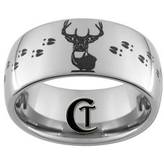 Tungsten Band 10mm Dome Deer Hunting Design Ring Sizes 5 17 Free Shipping