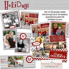 FREEBIES!!! 3 front and back holiday cards and 3 timeline covers!!