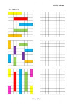 This worksheet and much more in the category of spatial orientation - post-coloring . Kindergarten Math Worksheets, Fun Worksheets, Math Resources, Preschool Activities, Handwriting Games, Visual Perceptual Activities, Math Patterns, Math For Kids, Drawing For Kids