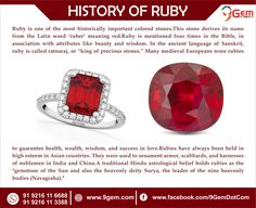 Ruby is One of the most historically important colored stones. ruby is gemstone of the sun planet and the havenly diety surya. Gem Ruby, Ruby Gemstone, Latin Words, Whatsapp Messenger, Meant To Be, Jewelry Making, Gemstones, History, Red