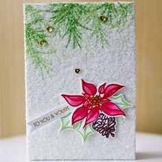 Glittered Poinsettia Card by @carlytee. #EllenHutsonLLC #EssentialsbyEllen #Merry&Bright #Mistletoe&Holly