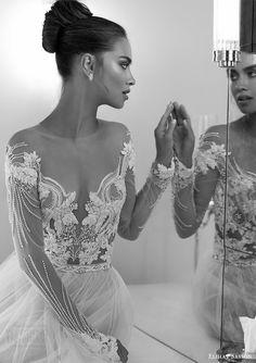elihav sasson spring 2018 bridal illusion jewel off shoulder neckline sheer long sleeves beaded bodice ball gown wedding dress (vj 004) zv sexy romantic -- Elihav Sasson 2018 Wedding Dresses