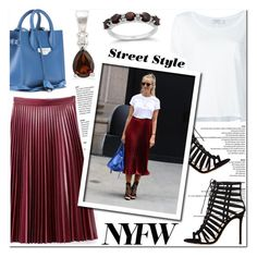 """""""NYFW Street Style: Day Two"""" by blossom-jewels ❤ liked on Polyvore featuring Frame Denim, WithChic, Gianvito Rossi and Balenciaga"""