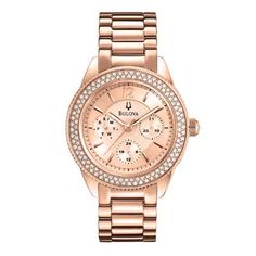 Ladies' Bulova Crystal Accent Rose-Tone Stainless Steel Watch with Rose Dial (Model: 97N100)