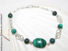 Bracelet Azurite-Malachite, Malachite et argent massif 935 fait main : Bracelet par nathalyne