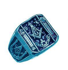 Blue Sterling Silver Free Mason Masonic Ring Jewelry | eBay
