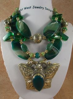 Cowgirl Necklace Set - Chunky Green Agate with a Handcrafted Brass Butterfly Pendant with Jade by Outwestjewelry on Etsy https://www.etsy.com/listing/227764937/cowgirl-necklace-set-chunky-green-agate