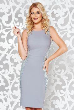 StarShinerS grey elegant pencil dress slightly elastic fabric with lace details, lace details, tented cut, sleeveless, back zipper fastening Product Label, Pencil Dress, Lace Detail, October, Glamour, Zipper, Elegant, Grey