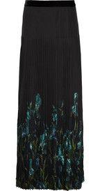 GucciIris-print pleated silk-chiffon maxi skirt