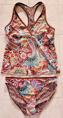 ATHLETA Swim Suit Tankini Sz M Brown Paisley Racer Back & Bikini Bottoms