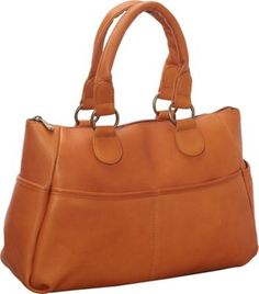 Le Donne Leather Slip Pocket Satchel Tan - via eBags.com!