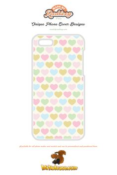 Filled Love Hearts Pattern on Yellow phone case available for all phone makes and models and can be personalised and purchased from www.mrnutcase.com