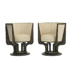 Sculpted Metal Lounge Chairs, Pair by Paul Evans for Paul Evans Studio ca.1970