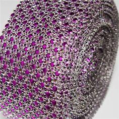 Two Toned Rhinestone Diamond Mesh Wrap Ribbon, 2-1/2-inch, 10-yard, Purple