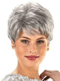 Short Wavy Synthetic Grey Wigs