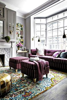 Colorful and purple living room design ideas in This Year Part 28 ; purple living room ideas home dec Purple Living Room Furniture, Decor Home Living Room, Chic Living Room, Living Room Grey, Rugs In Living Room, Living Room Designs, Home Decor, Blue Carpet Bedroom, Sophisticated Bedroom