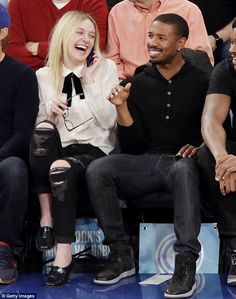 Pals: She was also seated next to That Awkward Moment star Michael B. Jordan, and the two ...