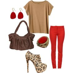 Red and Cheetah! created by joanne-conners.polyvore.com