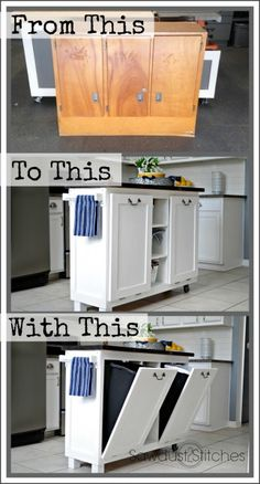 $5 Cabinet Transformed into a Kitchen Island