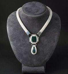 "Necklace ""Viviane"" - sterling silver, malachite, green thong"