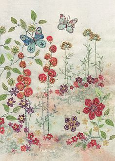 BugArt ~ Red Hollyhocks. Amy's Cards *NEW* Original embroideries by Amy Butcher. Cards designed by Jane Crowther.