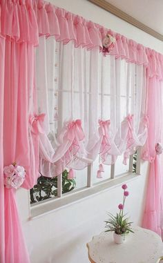 Merveilleux Pink Curtains For Kitchen