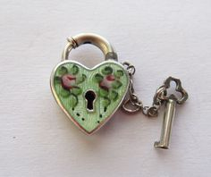 C1940's Walter Lampl Sterling Guilloche Enamel Padlock and Key Puffy Heart Charm